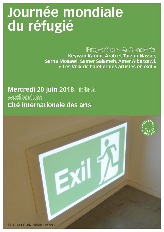 Journée Mondiale du Réfugié le 20 juin 2018 à 19h45 à la Cité Internationale des Arts